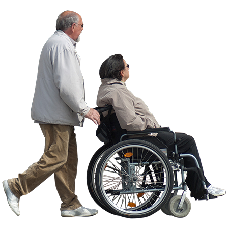 A Man Endearingly Showing His Wife Around Town While She Is Seated In A Wheelchair People Png Render People People Cutout