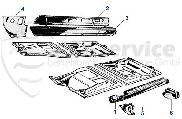 105 series (sill/rocker) chassis components in DETAIL