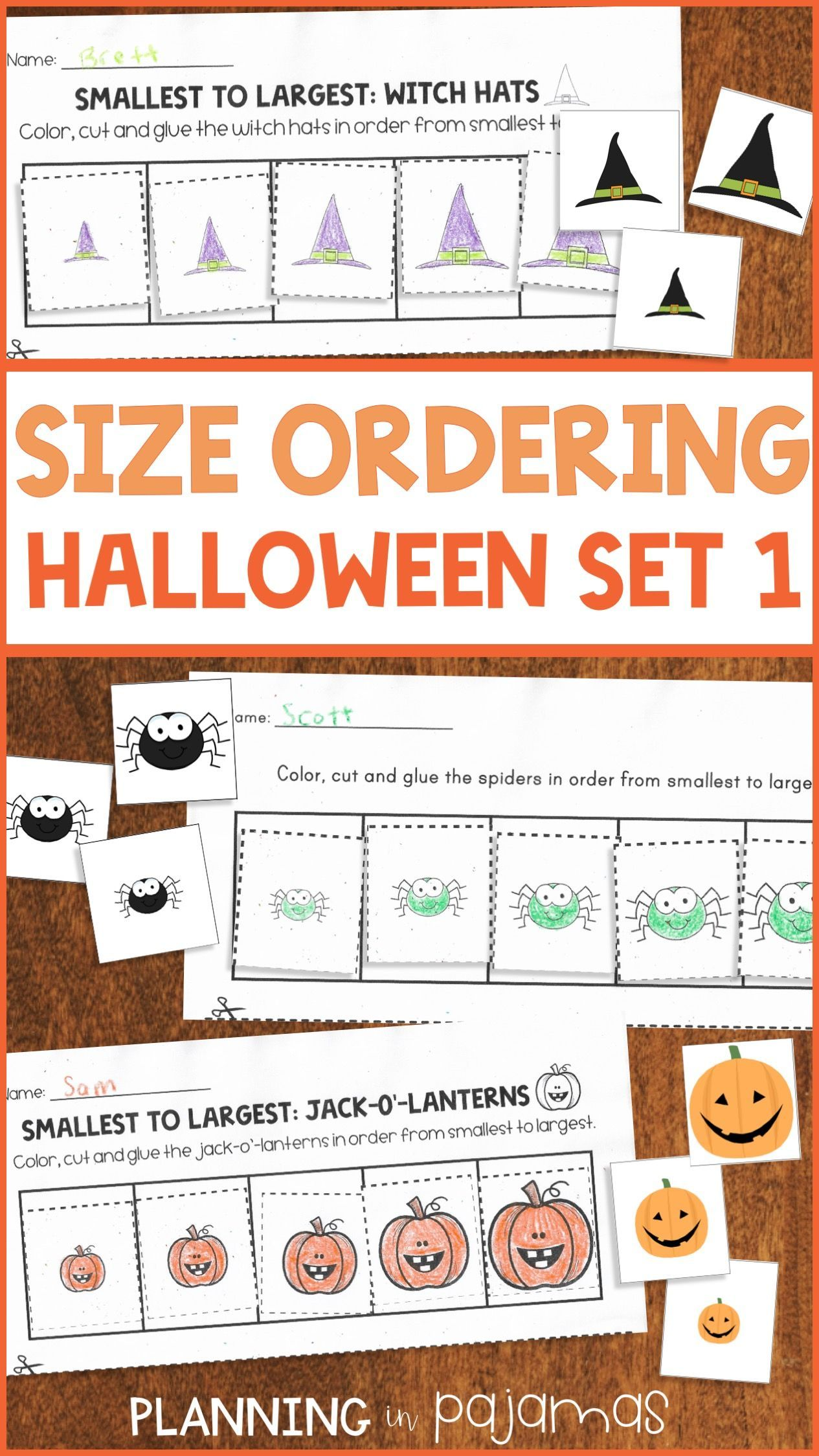 Halloween Theme Math Center To Practice Non Standard Measurement Size Ordering Worksheets And Cards With Dif Halloween Lesson Witch Hat Halloween Kindergarten