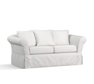"SoMa Katrina Slipcovered Loveseat 70"", Polyester Wrapped Cushions, Washed Linen/Cotton White"