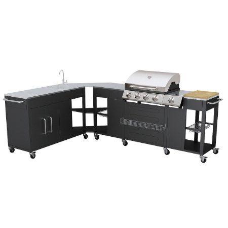 Outdoor Kitchen Barbecue Missouri 4 Burners Amazon Co Uk Kitchen Home Brick Exterior House Barbecue Kitchen Cabinet Styles