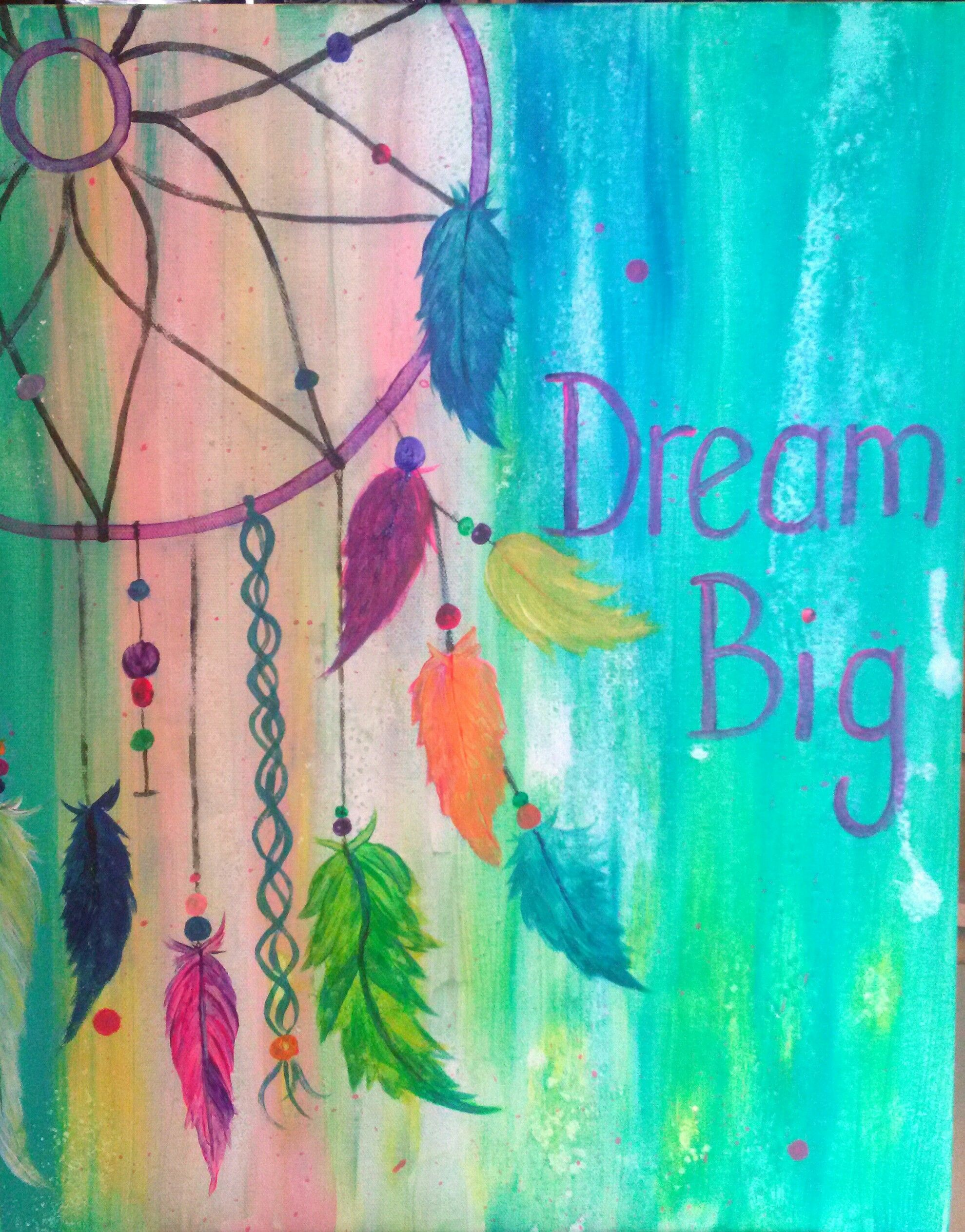 Pin By Ashley Mahan On Canvas Painting Art Projects Dream Catcher Painting Painting