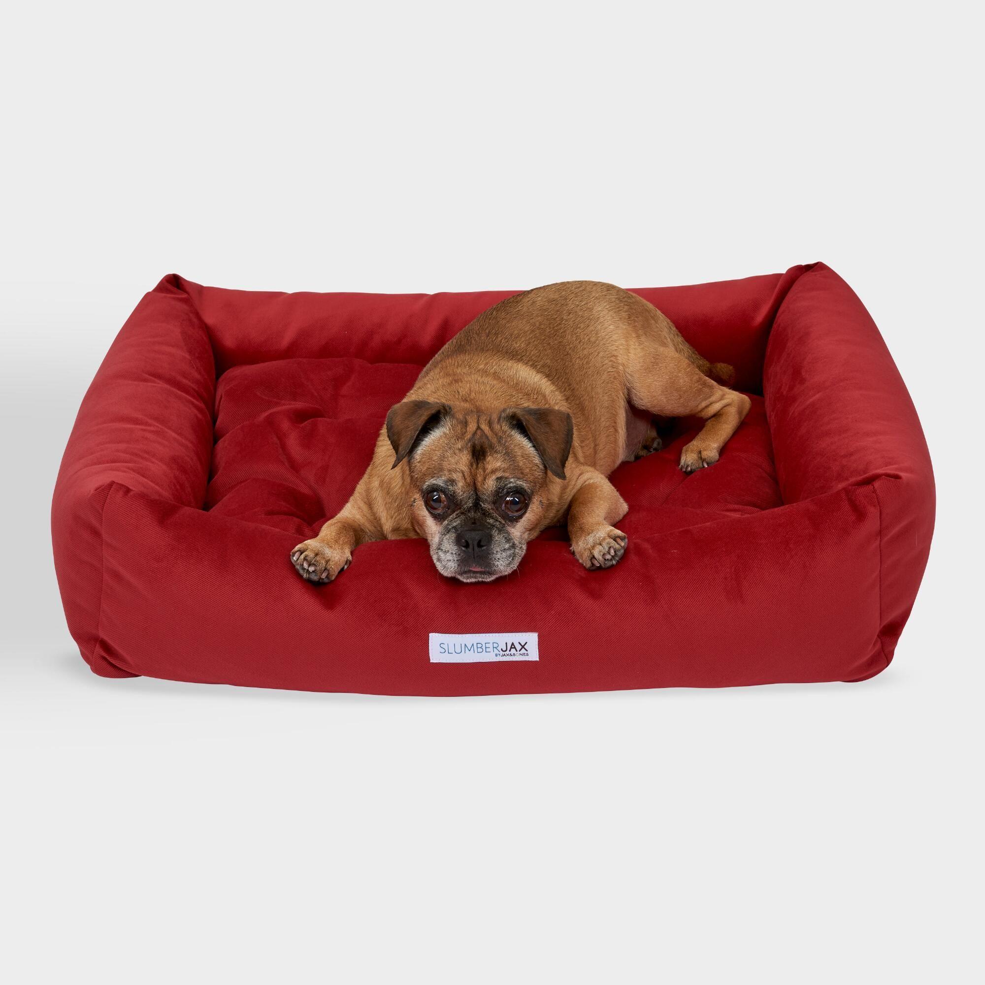 Medium Rectangular Red Velour Dog Bed Large By World Market