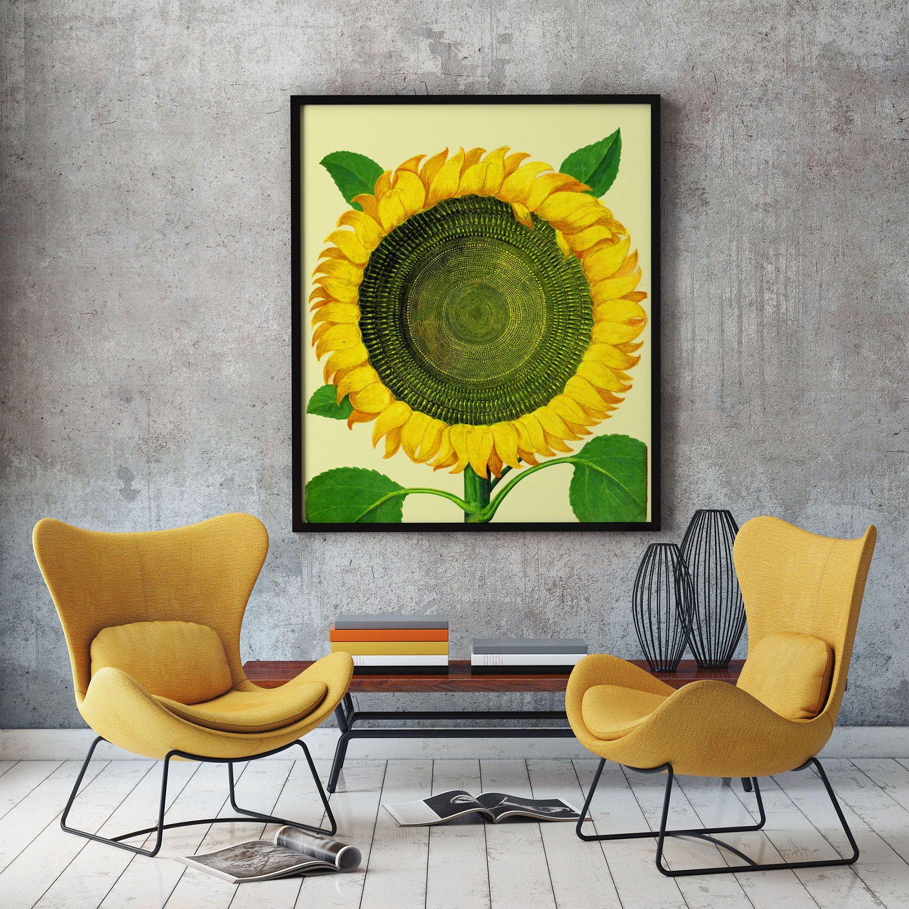 Sun Flower Art Large Botanical Poster of Flower Poster Decor Flower ...