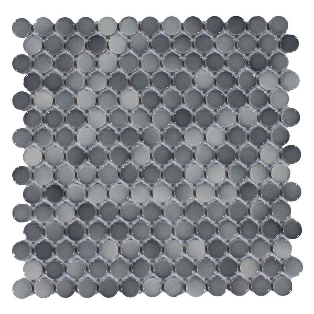 Dark Tile Master Bathroom: Dark Gray II Penny Porcelain Mosaic