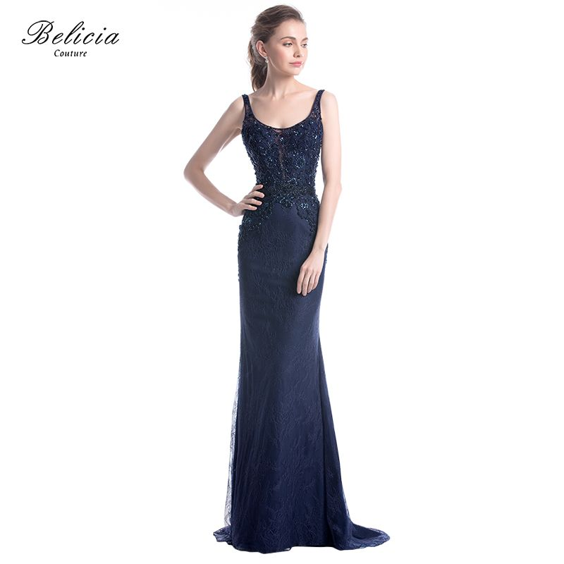 f99a21bb4b Belicia Couture Women Sleeveless Mermaid Evening Dress Beading Lace ...