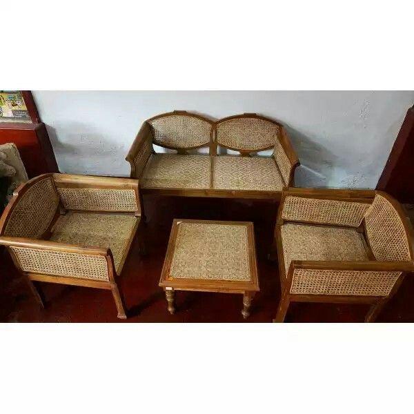 Classic teak wood sofa set with cane weaving. Kerala, India