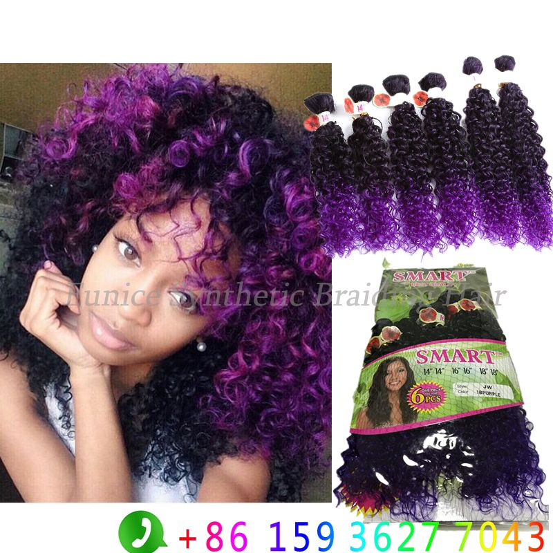 Find More Hair Weaves Information About 6pcs Pack Ombre Purple Jerry Curly Freetress