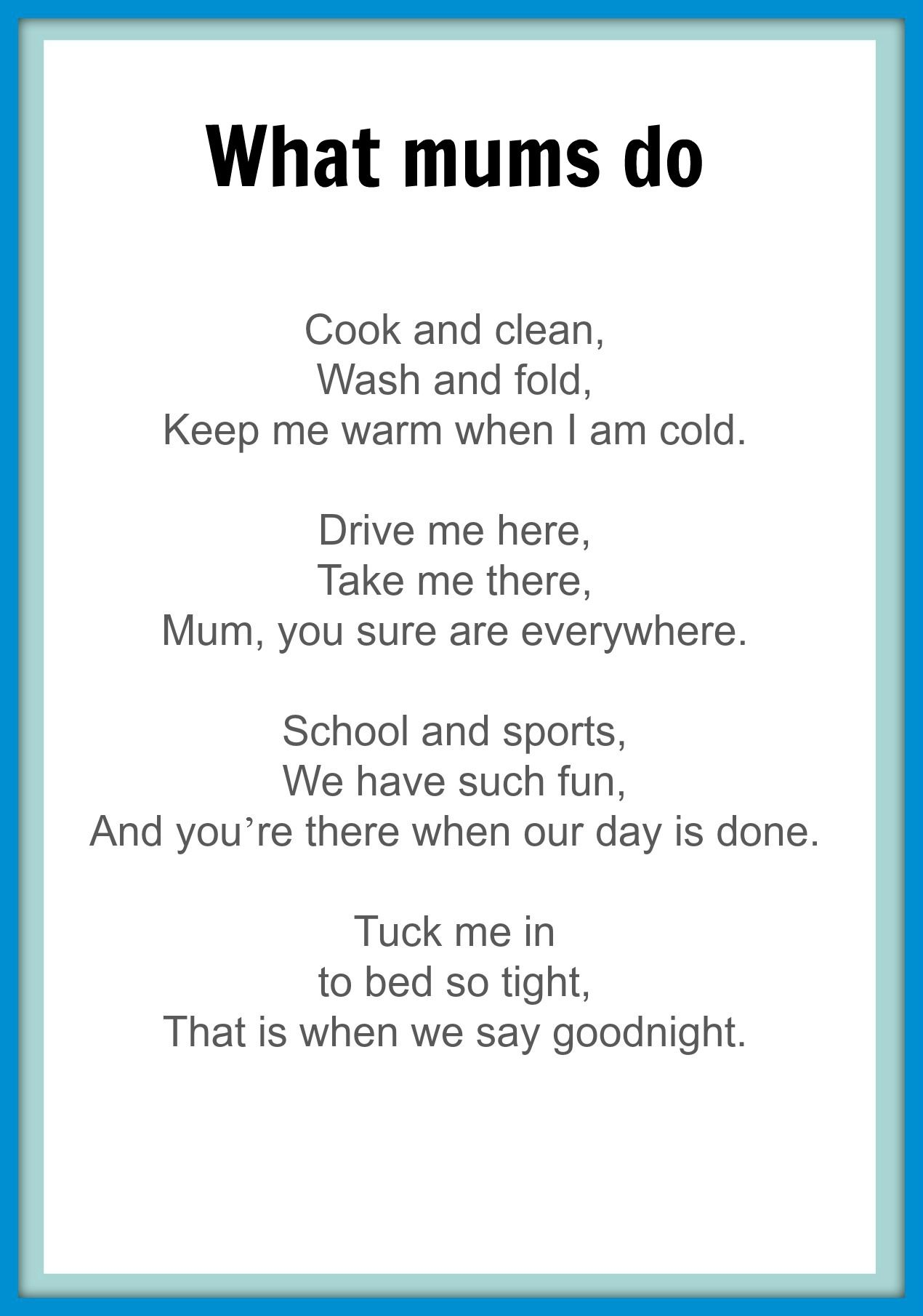 poems for mothers day from preschoolers - Google Search