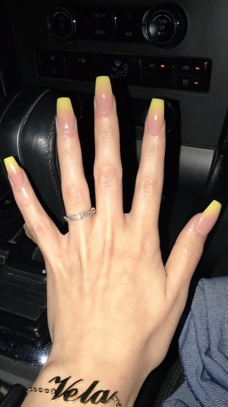 Yellow Ombre Coffin Nails Credit To Owner In 2020 Ambre Nails Ombre Nails Trendy Nails