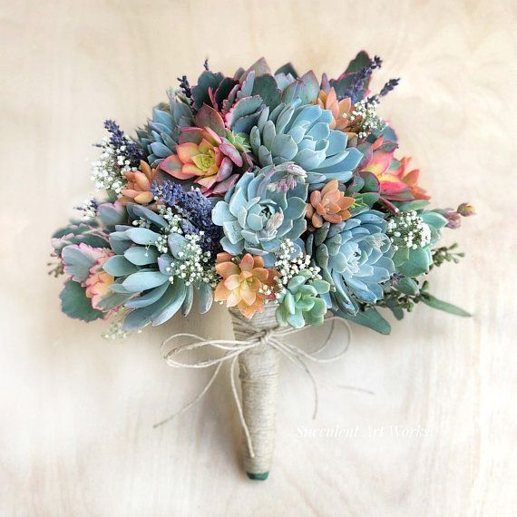 Cascading Live Succulent Wedding Bouquet, Customize with added dried flowers, faux ferns. Bridal Bouquet