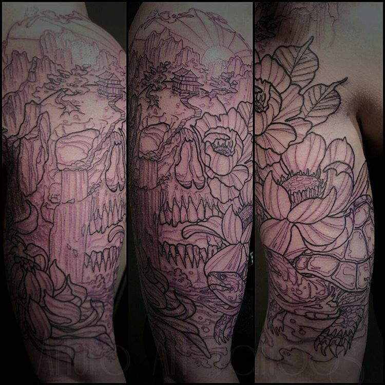 Artie On Instagram Outlined This Half Sleeve Today Super Fun Can T Wait To Color It In Turtle Nature Family Flow Mandala Tattoo Tattoos Flower Tattoo