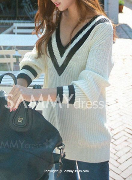 Preppy Style Women's V-Neck Color Block Long Sleeve Pullovers Sweater