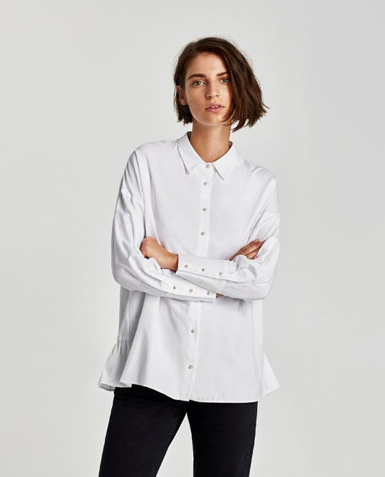 Image 2 Of Oversized Shirt With Faux Pearl Button From Zara Oversized Shirt Women Shirts