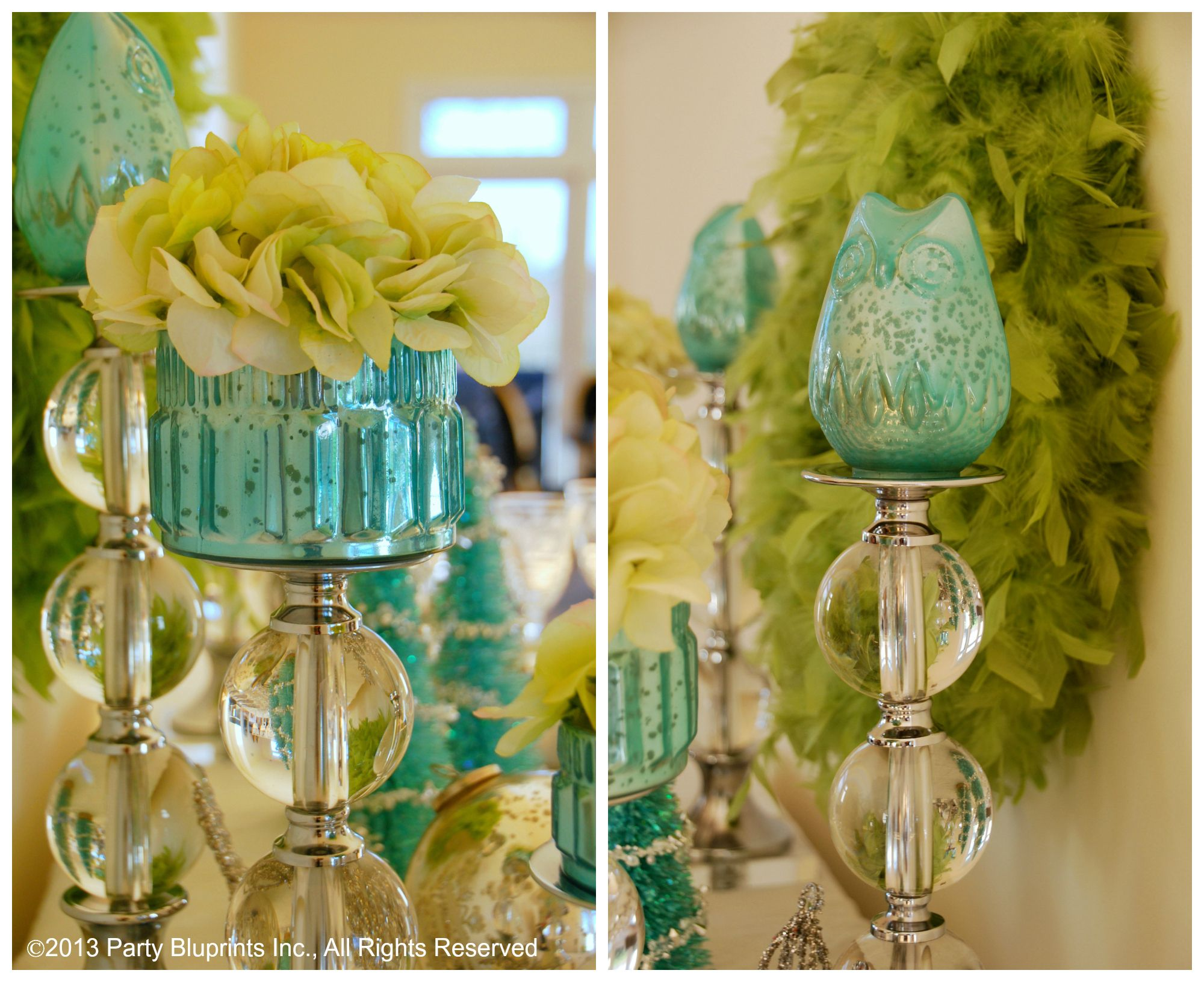 Blue christmas decorations party ideas blue christmas decorations - Cool Blue Mercury Glass Owls And Green Feathers