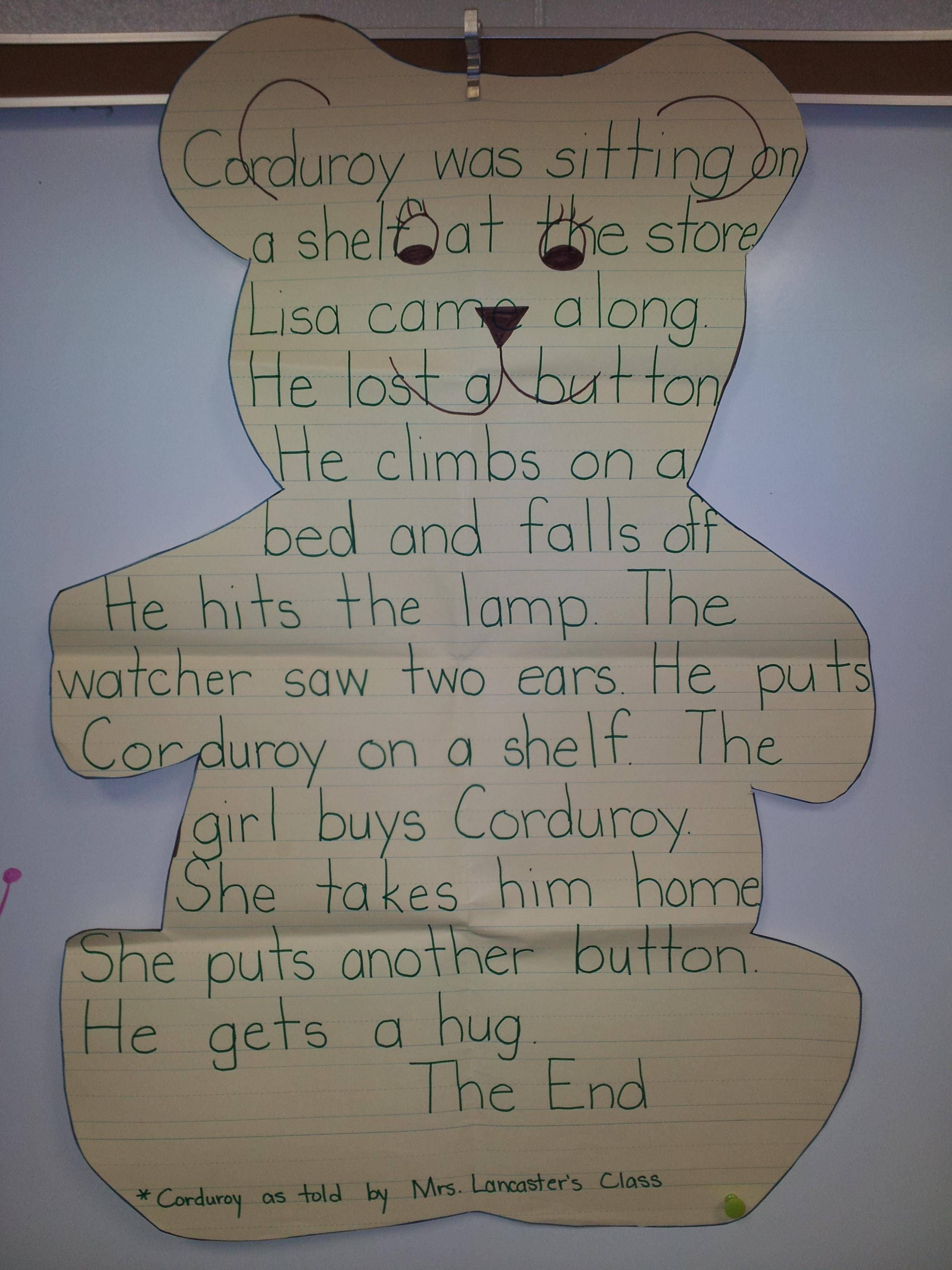 A Bear Outline For Students To Re Tell The Story Of