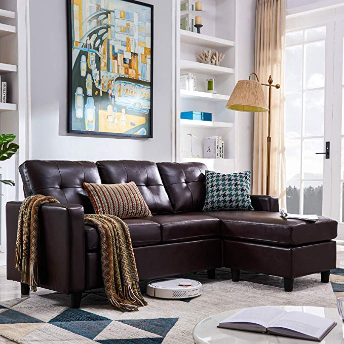 Amazon Com Honbay Convertible Sectional Sofa Couch Leather L