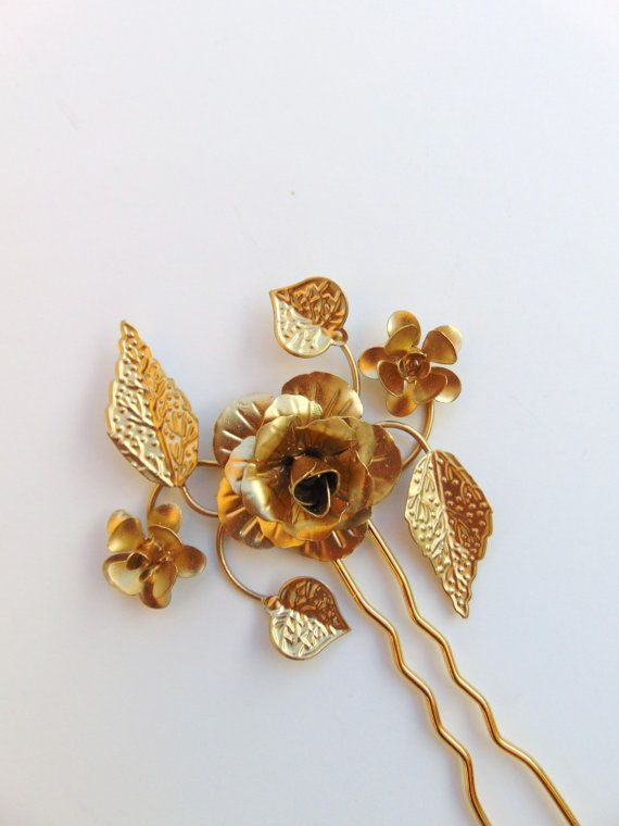 SALE Gold Floral Hair Pin Gold Flower Hair Pin by Sparrowstation