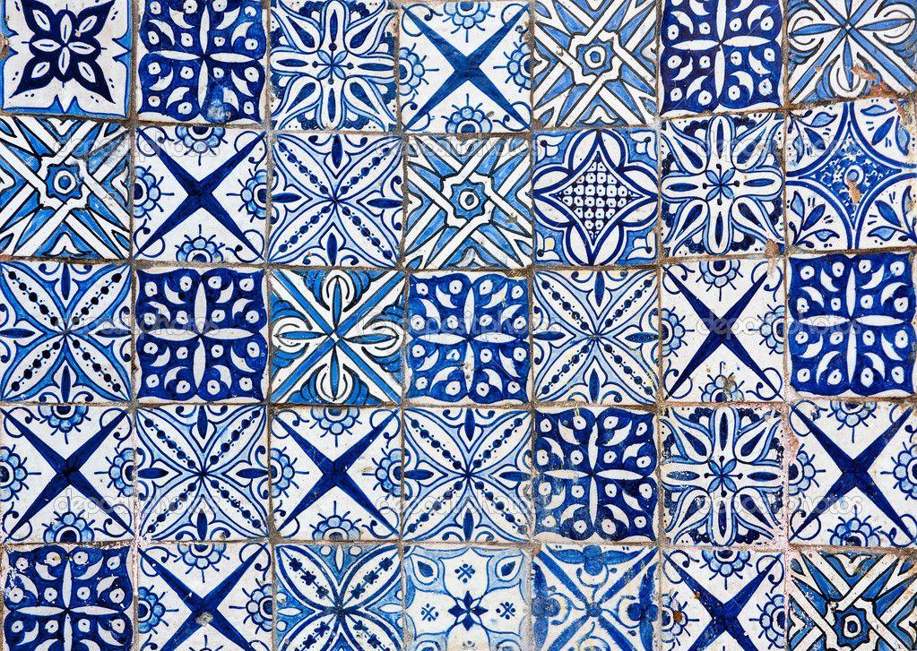 Moroccan Tile Moroccan vintage tile background blue white