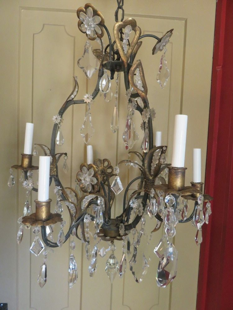 Gorgeous Antique Gilded Iron French Chic Italy Crystal Flower Chandelier Pour Moi