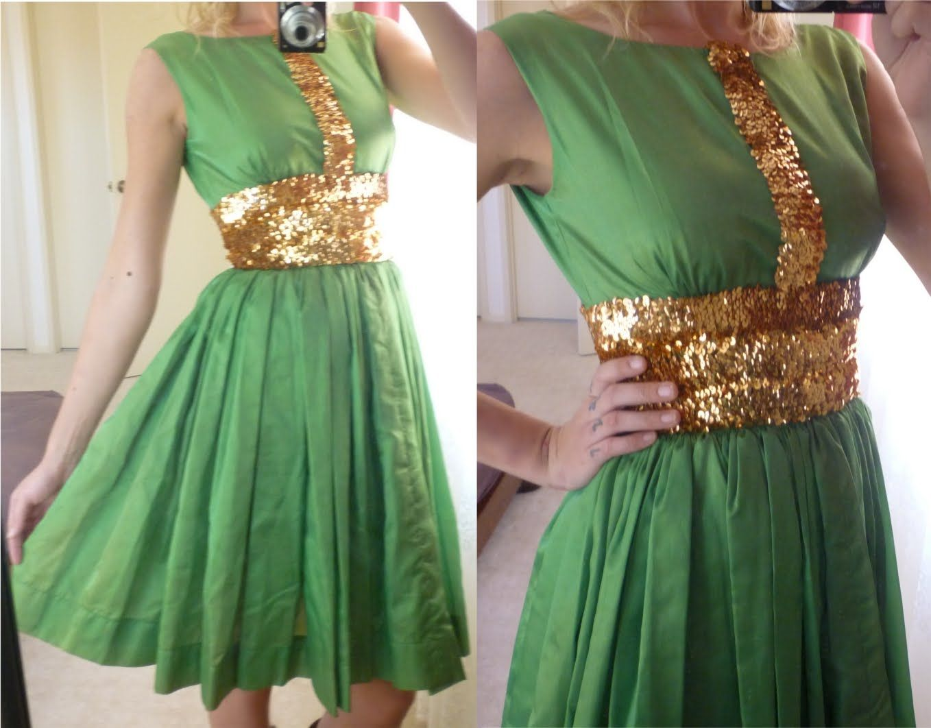 Stunning green and gold sequin s dress all things green uc