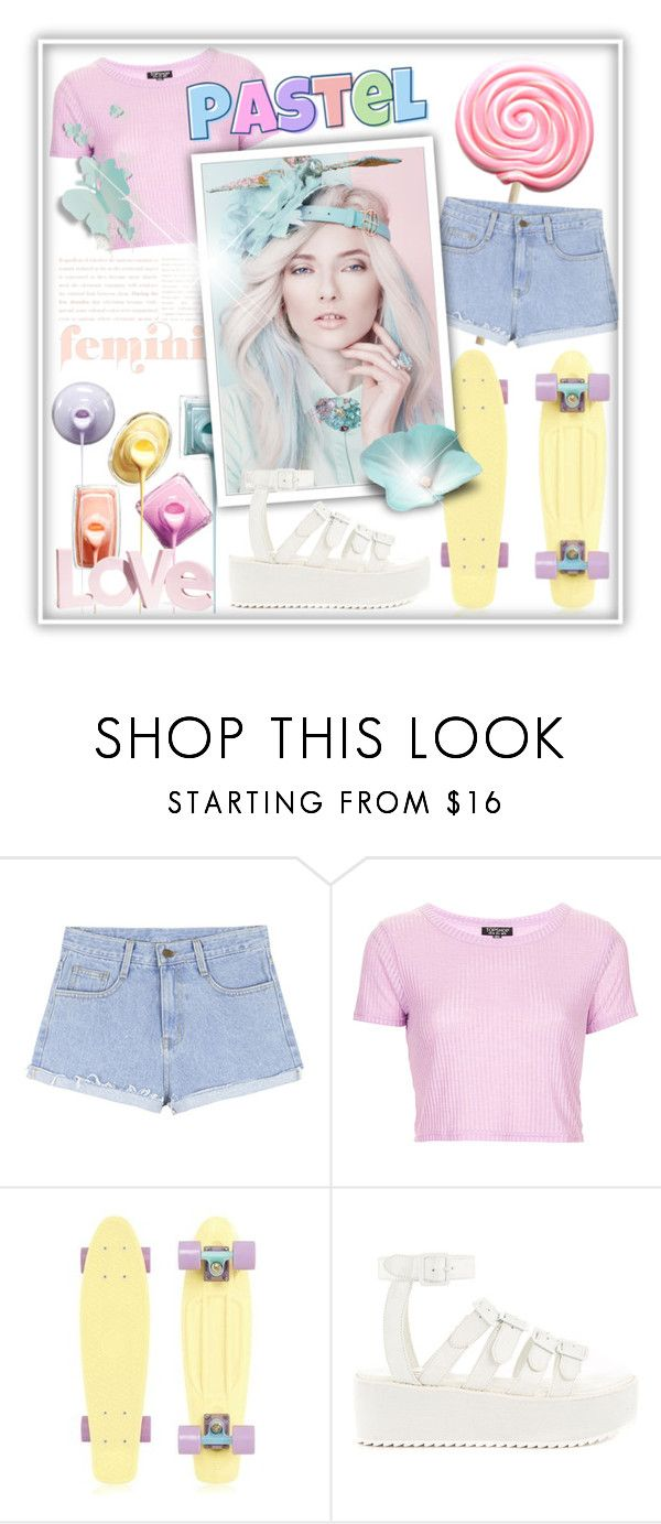 """Pastel Summer"" by jessinerio4l ❤ liked on Polyvore featuring Topshop, Y.R.U. and H&M"