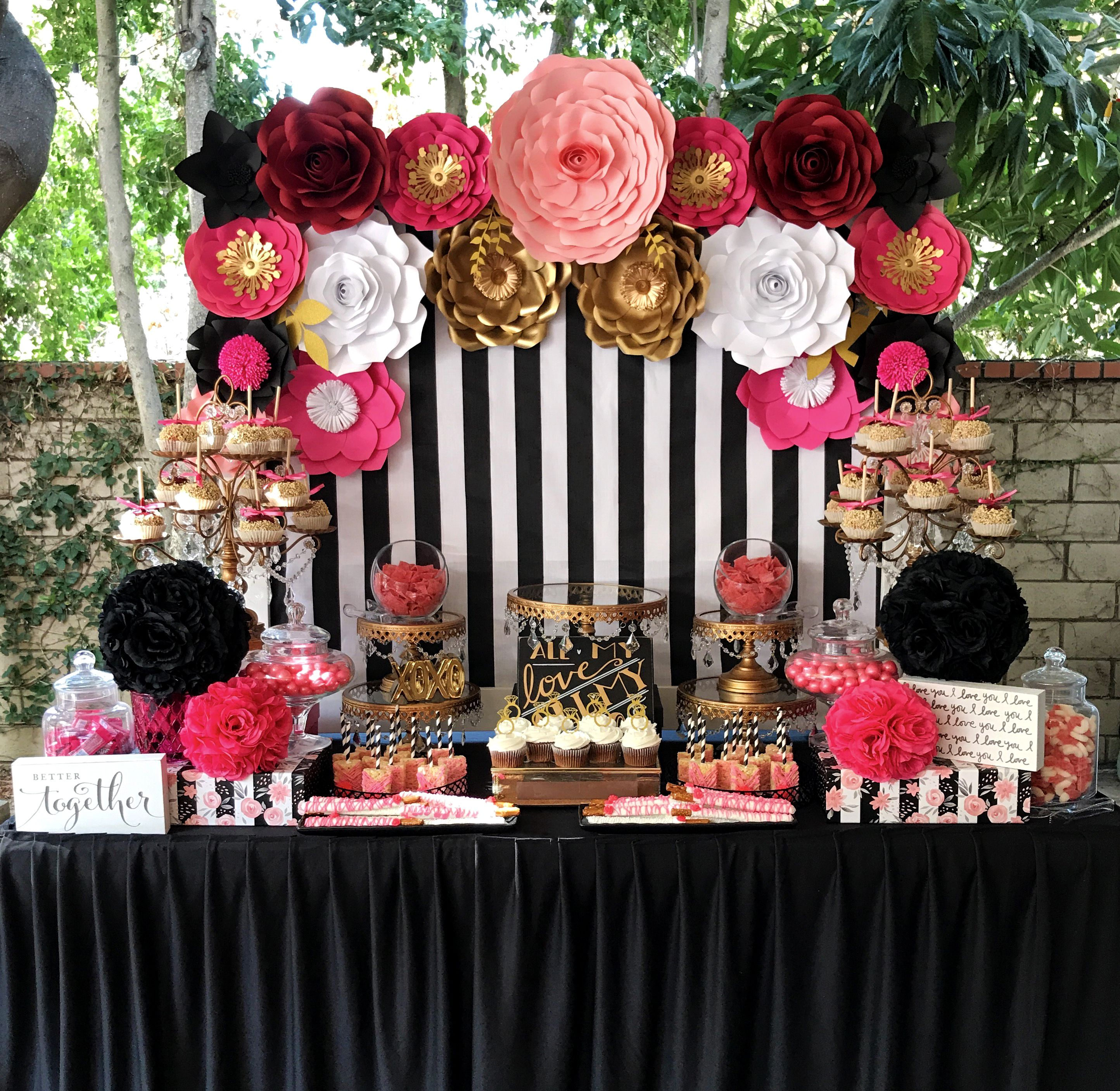 Kate Spade Pink And Black Dessert Table Paper Flower Backdrop And