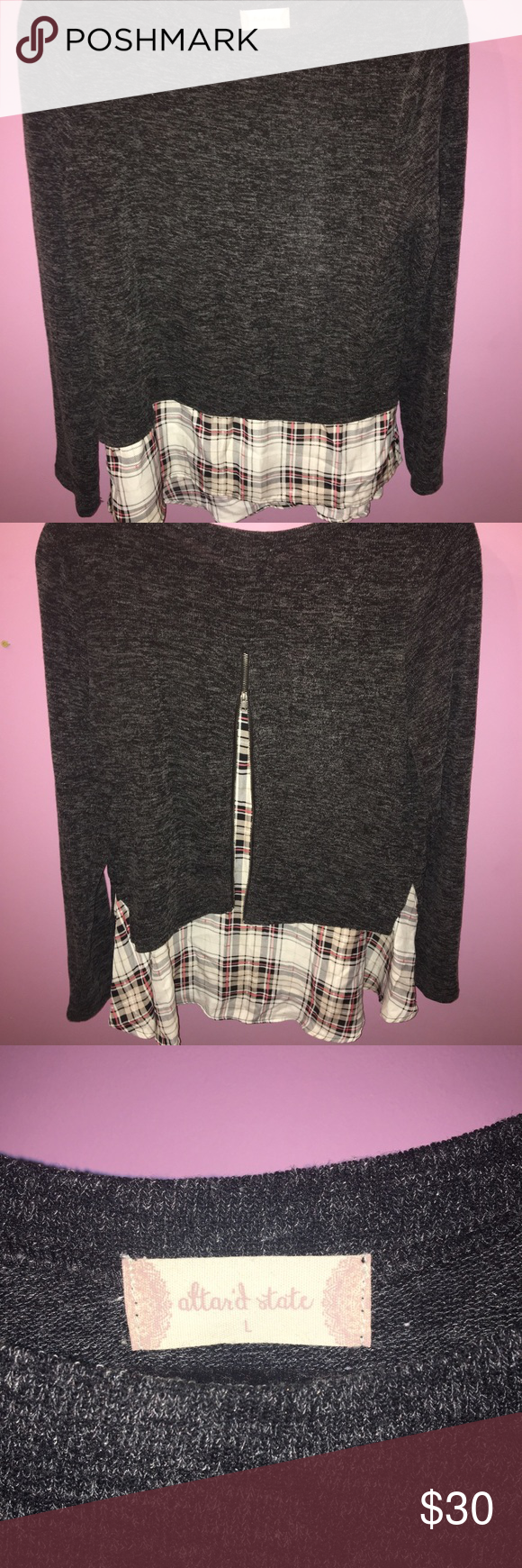 "Soft Black/Greyish sweater with ""plaid"" under Black/Greyish with ""plaid"" attached undershirt with zipper in back from Altar'd State Altar'd State Sweaters Crew & Scoop Necks"