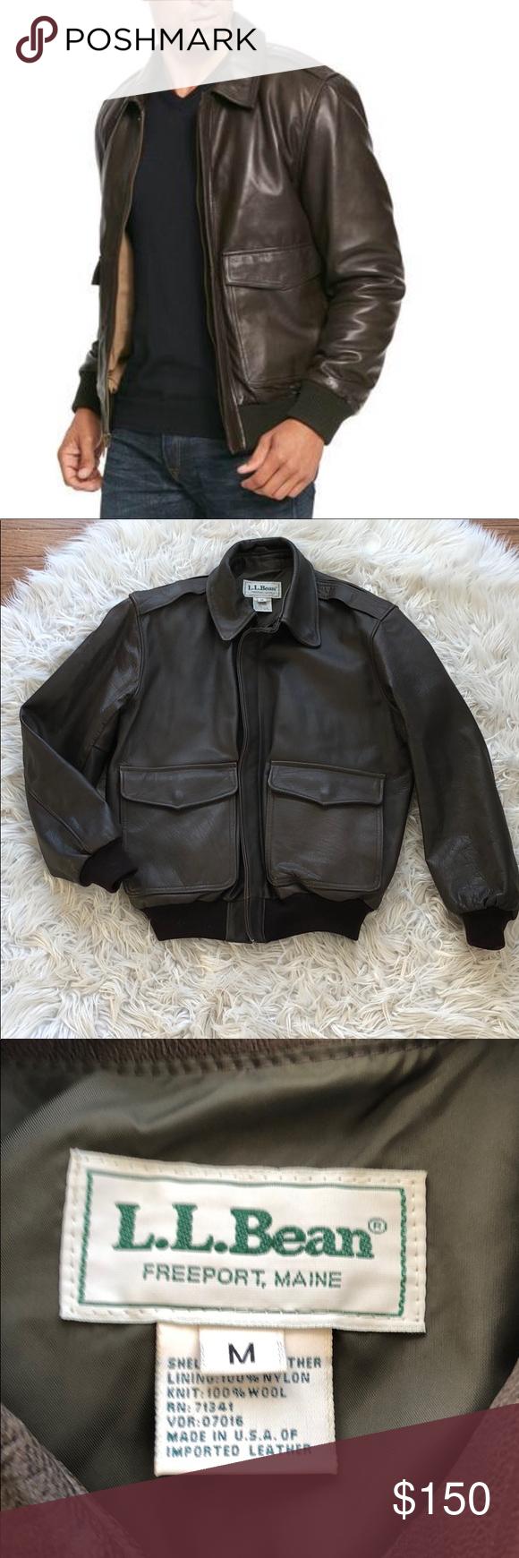 L L Bean Leather Bomber Jacket Brown Medium Leather Bomber Jacket Leather Bomber Clothes Design