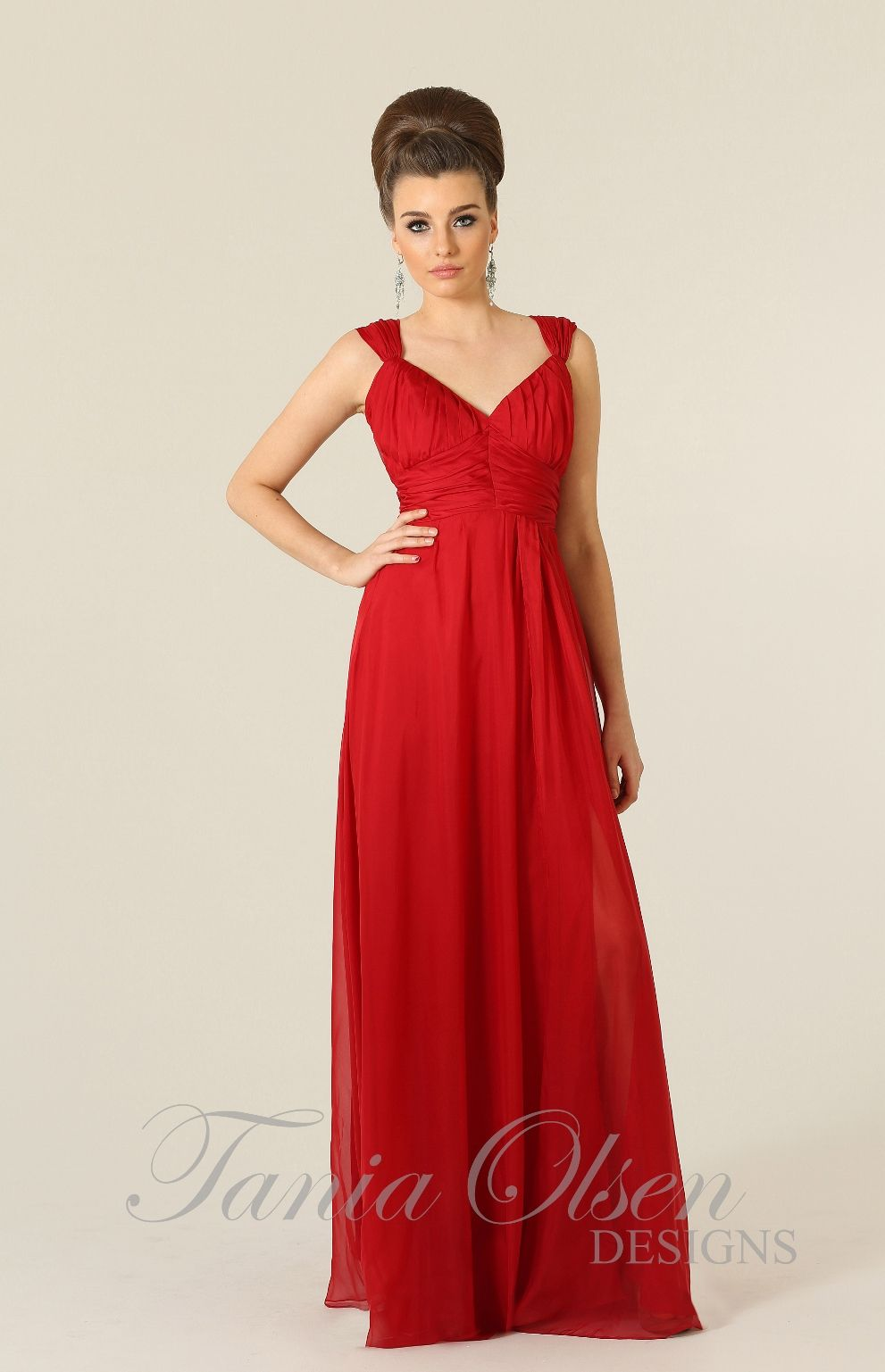 Silk dreams bridesmaid dress red by Tania Olsen elegant evening dress with skirt leg split perfect as a formal dress or a bridesmaids dress for all formal occasions.