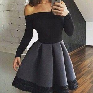 40f678ad9ee Elegant black and white long sleeve short prom dress