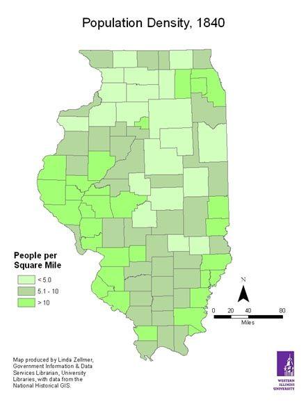 Map Of America 1820.1840 Population Density Of Illinois 1820 1860 Antebellum