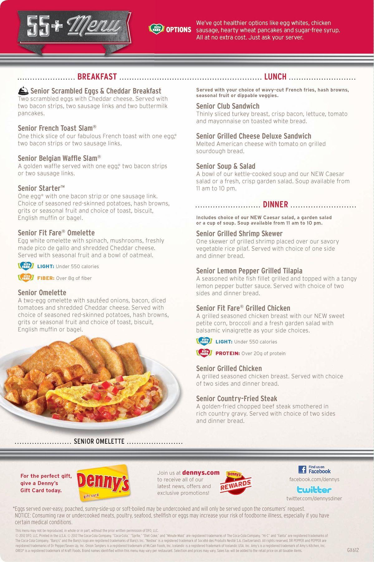Denny\'s senior menu • dennys.com   Denny Cafes   Pinterest   Menu ...