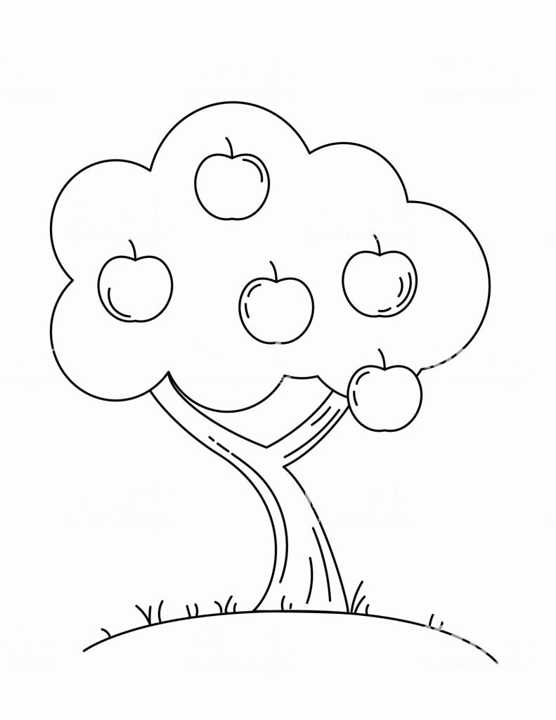 Coloring Tree Apple Unique Cute Childrens Farm Coloring Book Page Apple Tree Stock In 2020 Tree Coloring Page Coloring Book Pages Apple Coloring