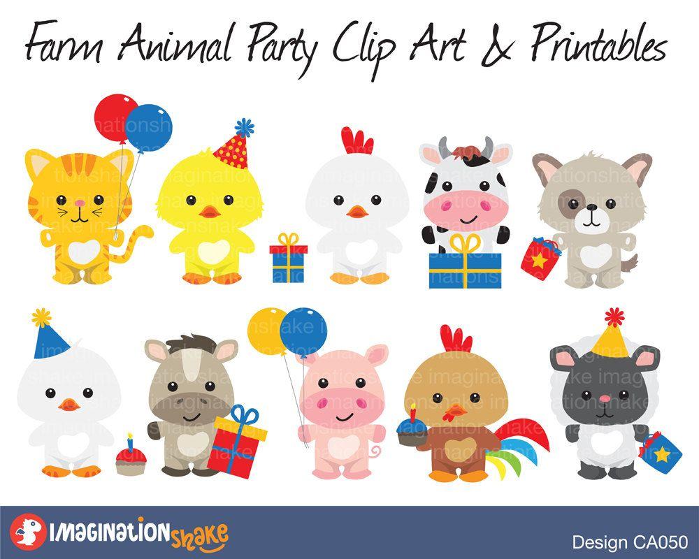 Farm Animals Party Clip Art Printables Set Farm Clipart Etsy In 2021 Farm Animal Birthday Farm Animal Party Animal Birthday