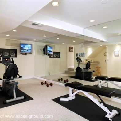 """""""mirrors add width to narrow room"""" """"basement exercise room"""