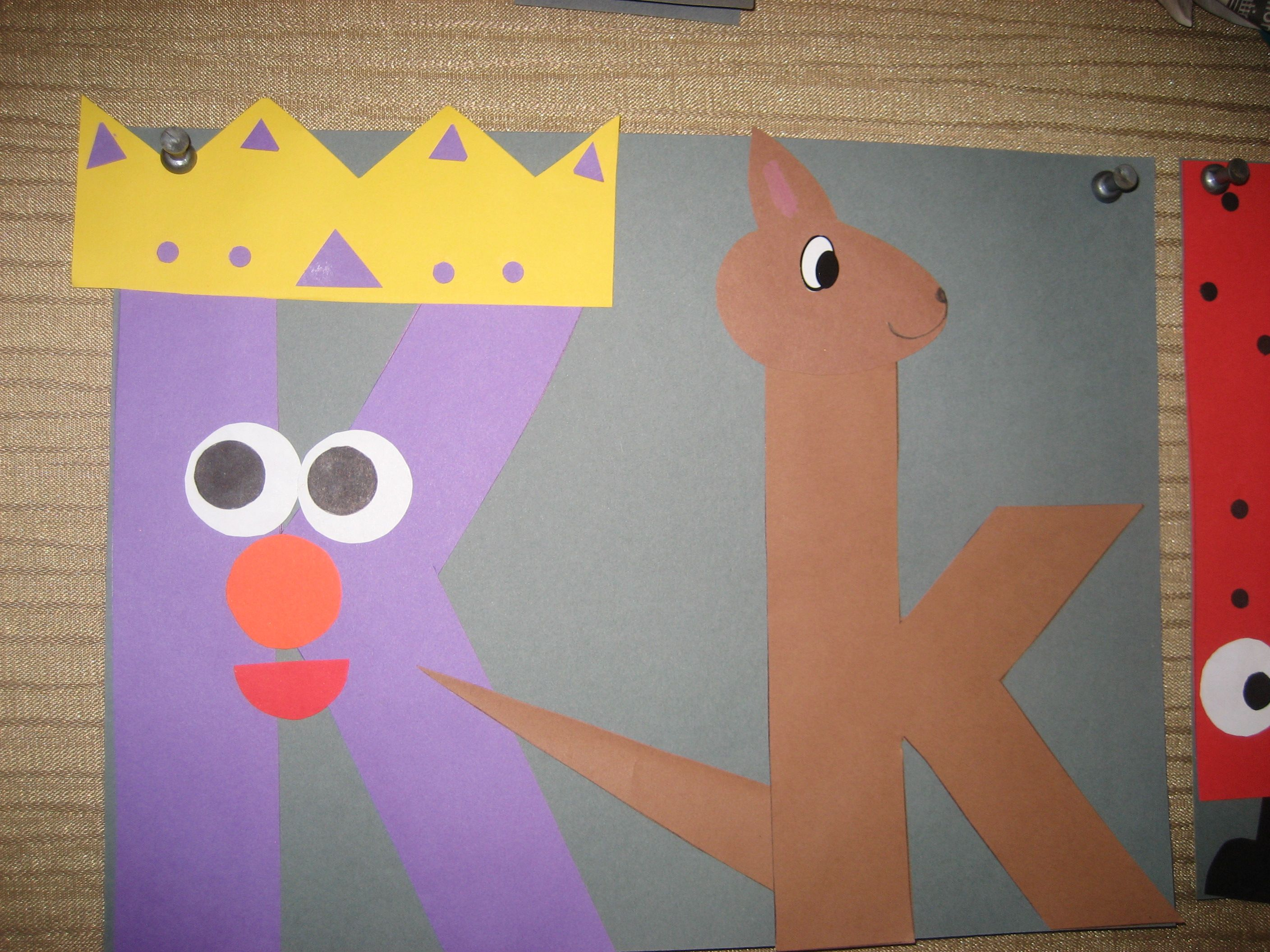 Kk Letter Of The Week Art Project King Amp Kangaroo