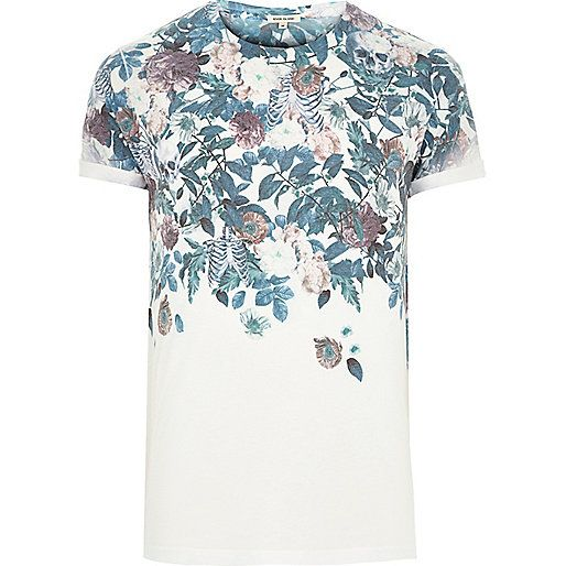 White floral skull faded print t-shirt - print t-shirts - t-shirts ...