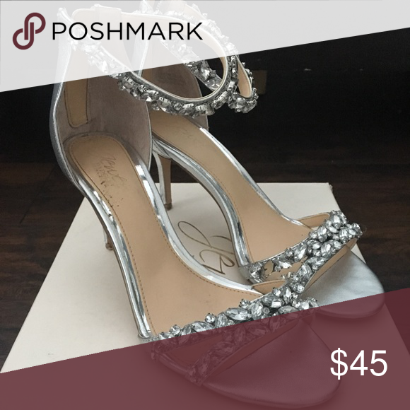 f361bb017749 Jewel Badgley Mischka Wedding Shoes Jewel Badgley Mischka Caroline  Embellished Ankle-Strap Evening Sandals in Silver color. Worn for 2 hours  at wedding in ...