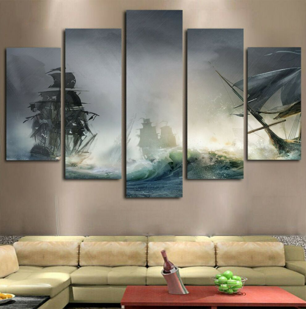 Ocean Storm Wave Island Ships Picture Canvas Modern Wall Art Home Decor 5 Pieces