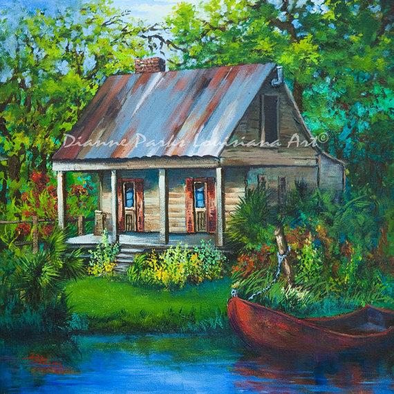 The Bayou Cabin   Louisiana Swamp Cabin, Fishing Camp On The Bayou,  Louisiana Art