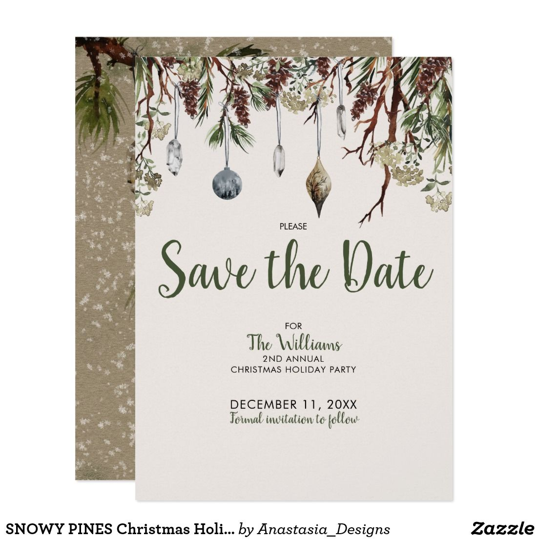 snowy pines christmas holiday party save the date invitation