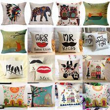 Vintage Home Decor Cotton Linen Pillow Case Sofa Throw Car Waist Cushion  Cover