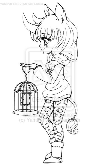 Rhino girl lineart commission by yampuff on deviantart - Coloriage chibi ...