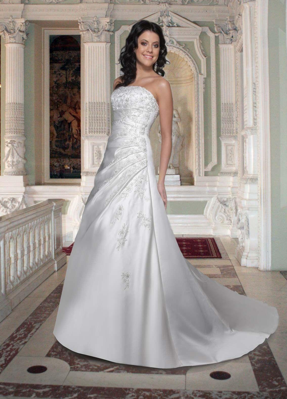 Satin A-Line Strapless Straight Neckline Corset back Wedding Dress ...