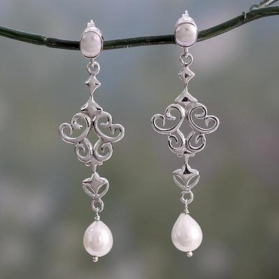 Novica Cultured pearl dangle earrings, Punctuation in Grey