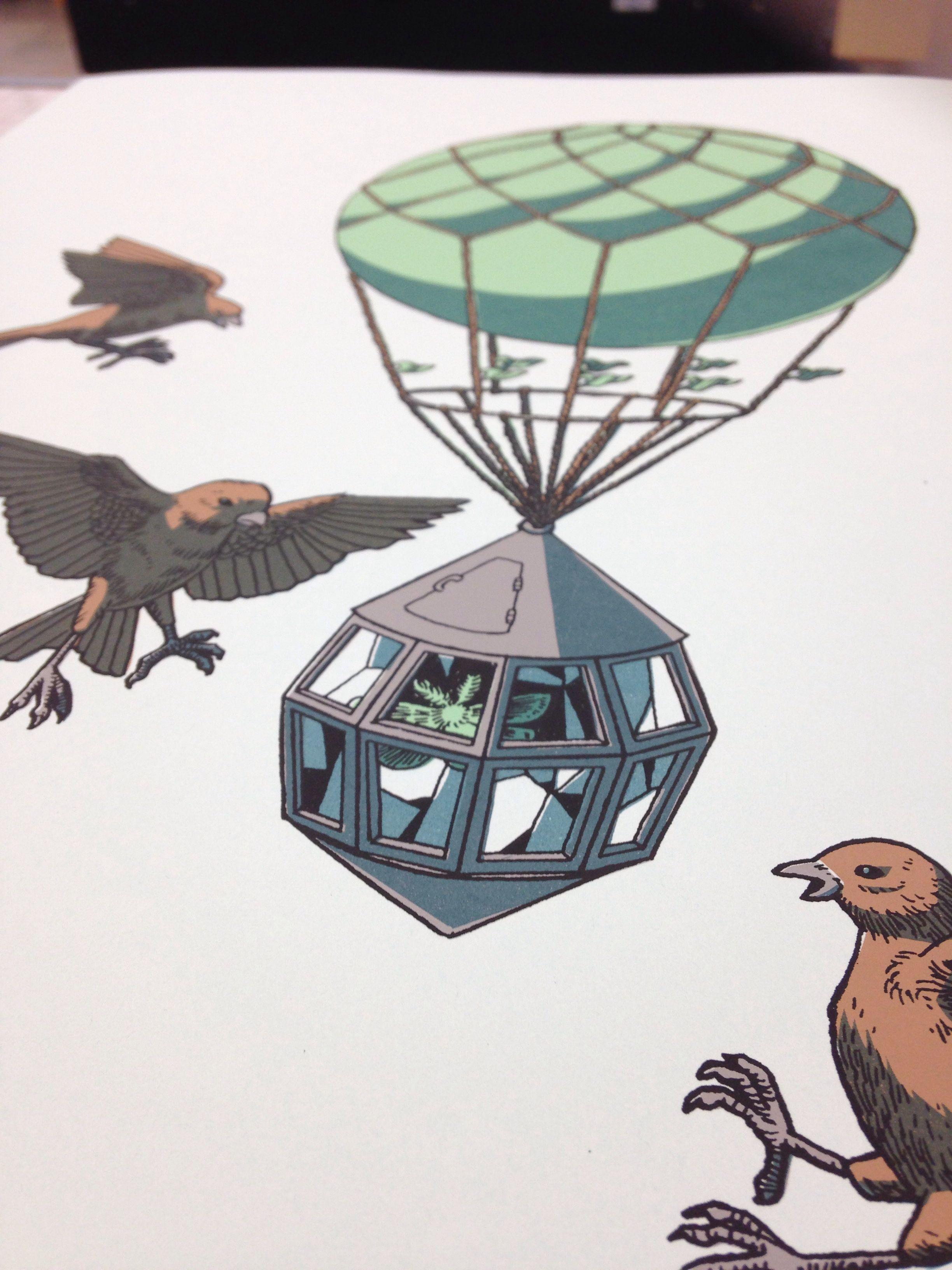 Screen print. Birds.