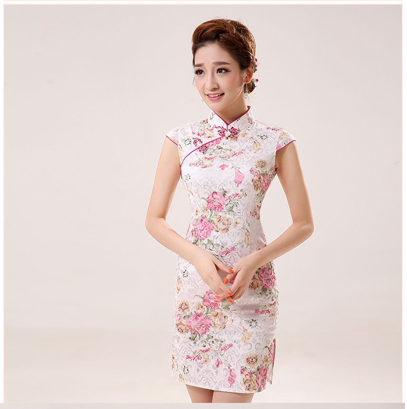 새로운 여름 실크 새틴 치파오 중국 전통 드레스 Vestido 민소매 여성 높은 목 Qipao 고유 파티 이브닝 드레스