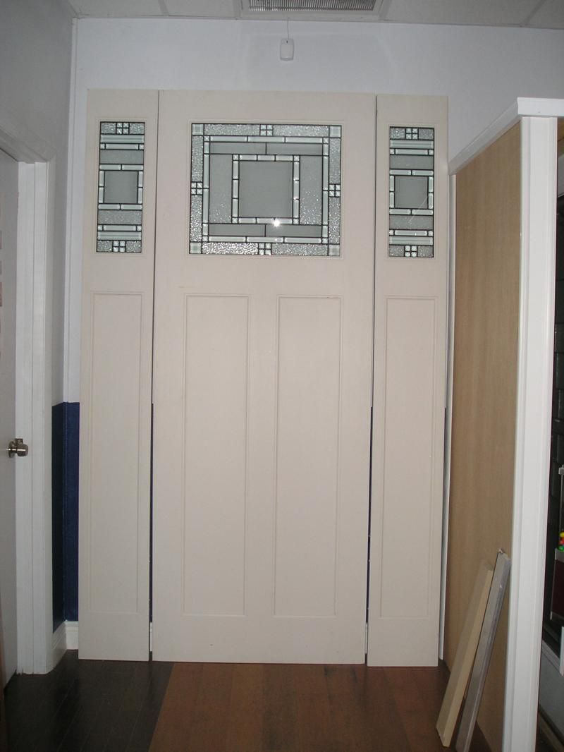 8u0027 Fiberglass Craftsman Style Door With Plastpro Metropolis Glass Design