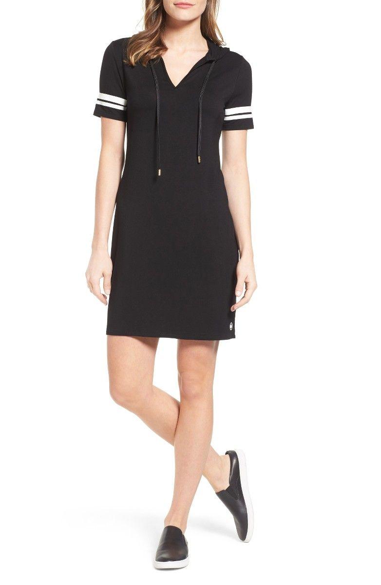 Michael michael kors hooded tshirt dress in black and white petite